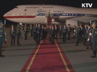 이 <font color=red>대통령</font>, 마지막 순방지 카자흐스탄 도착